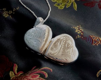 Heart  Locket,Sterling Silver Large Locket Holds 4 photos