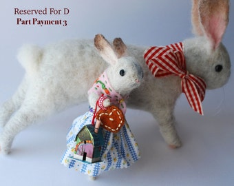 Reserved for D Part Payment 3 Original Animal Needle Felted Dear Bunnies With Tiny House