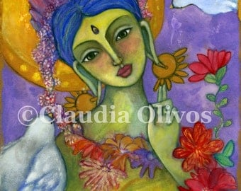 Spiritual art- Green Tara - Buddhist Art - Sacred Art - Goddess Art - Buddha Art - Buddha wall art - Hindu Goddess - Indian Art