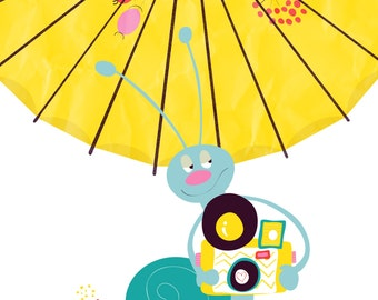 snail art print - Shutter bug - cute photographer, yellow umbrella, childrens art, illustration nursery print cute, whimsical nursery art