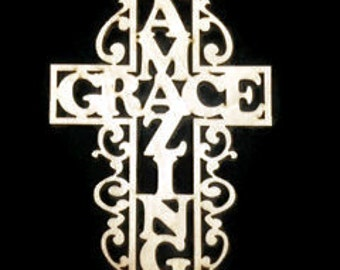 NEW! Intricate Amazing Grace Cross! 1/4'' thick Baltic Birch, You Choose the Size! L-005