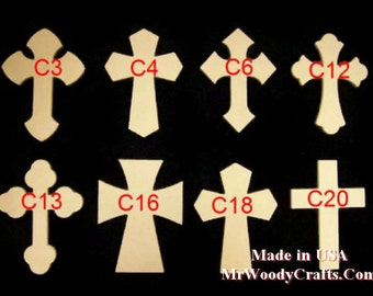 "10 4"" x 6"" x 1/4"" Unfinished Wooden Cross made from MDF, Your choice from 8 Crosses. No Keyholes 040625-10"
