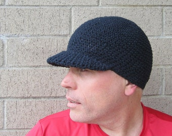 men's visor beanie/ simply black cotton crochet