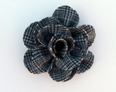 Rescued Wool Flower Pin - Houndstooth Check