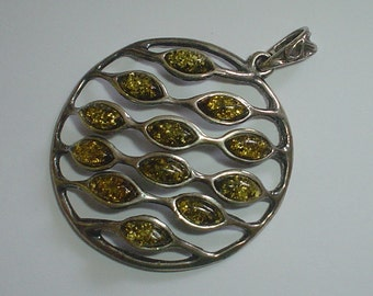 Silver pendant green amber sterling vintage modernist abstract