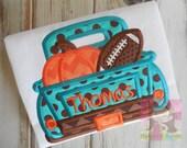 Fall Football Pumpkin Applique Boy Shirt--Personalized