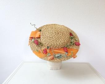 vintage straw hat / Mr. John hat / Grape Harvest hat