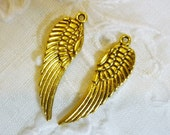 LOW SHIPPING Celestial Antique Golden Angel Wing Charms, Pair Gold Angel wings
