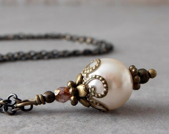 Ivory Pearl Pendant Necklace in Rustic Antiqued Bronze,