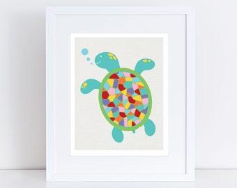 turtle art print, colourful sea themed kids nursery art, childrens art baby girl or boy gender neutral wall art ocean animal, rainbow bright