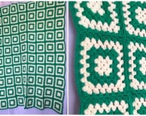 Green White Blanket Crochet Afghan Knit Throw Granny Squares Bedspread Vintage Handmade