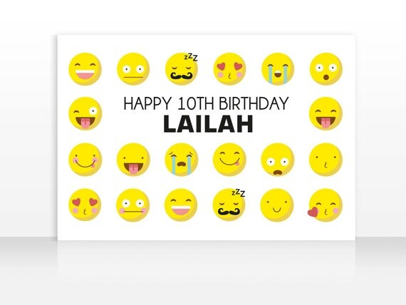 Printable Cool Emoji Poster Happy Birthday Art