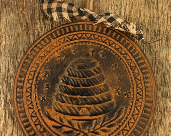 Blackened Beeswax Country Beehive Skep Primitive Decor Scented Cinnamon Rusty Ornament - Free SHIPPING in the USA