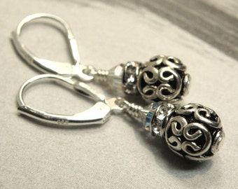 Bali Silver Ball Earrings, Celtic Design, Short Drop Round Sterling Silver, Metal Earrings, Rhinestone Accent, Everyday Handmade Jewelry