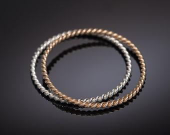 ONE Twisted Sterling Silver Bangle Bracelet