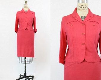 60s Suit Medium / 1960s Vintage Suit Coral Linen Pencil Skirt / Blossom Park Suit