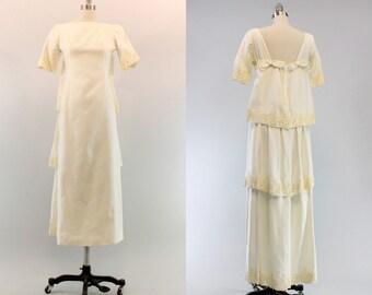 60s Emma Domb Wedding Dress XS / 1960s Watteau Bridal Gown /  Ivy and Wine Dress