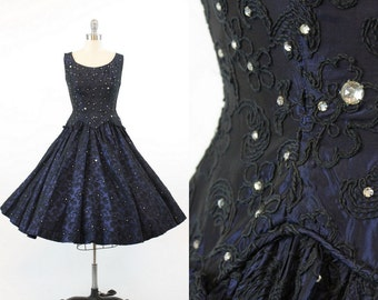 50s Dress Small Junior Accent / 1950s Vintage Embroidered Rhinestone Dress / Starry Starry Night