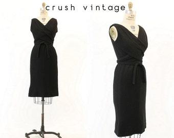 50s Dress XS  / 1950s Vintage Dress Wrap Wool Joseph Magnin / Blauner Black Dress