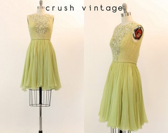 60s Dress Beaded Silk XXS / 1960s Vintage Dress Sequins / Peacock and Pearls Dress