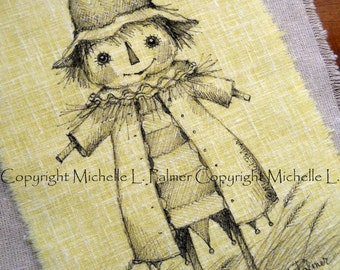 Large Original Pen Ink on Fabric Illustration Quilt Label by Michelle Palmer Scarecrow Harvest Halloween Fall Little Lady fancy trim