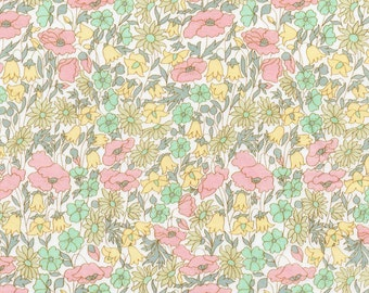 Liberty Fabric Poppy and Daisy B Tana Lawn Fat Quarter Pastel Floral