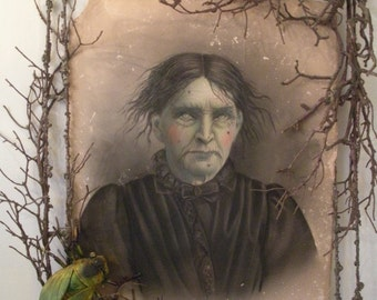 Altered Art!  Vintage Photo Transformed into Scary Old Lady in Twisted Frame - LOOK!!