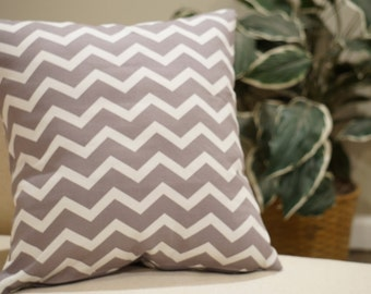 Throw pillow cover, gray printed cotton zig zag pattern, 16x16 square pillow with zipper closure