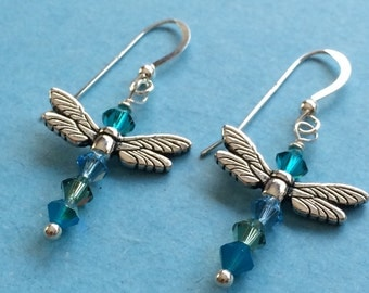 Teal Green and Blue Dragonfly Earrings with Swarovski Crystals and Sterling Silver French Hooks Nature Garden Whimsical Fairy