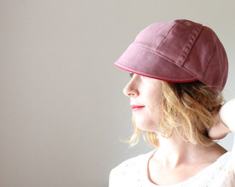 AMELIA JONES ---x--- Women's handcrafted cap made from Reclaimed Trouser in 'Wickedly Pink' - Small