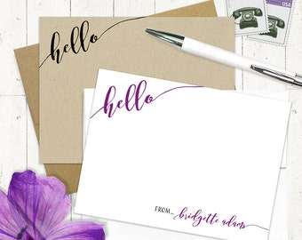 personalized note card set - HELLO CALLIGRAPHY - set of 12 flat note cards - fun note cards - feminine stationery