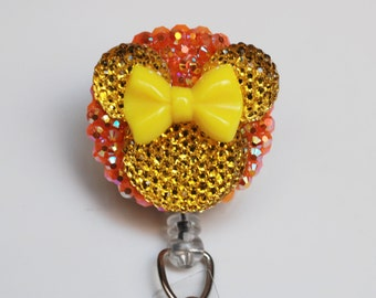 Minnie Mouse Neon Yellow Bow And Silhouette ID Badge Reel - Retractable ID Badge Holder - Zipperedheart