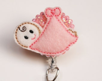 Pink Bundle Baby Girl Feltie ID Badge Reel - Retractable ID Badge Holder - Zipperedheart