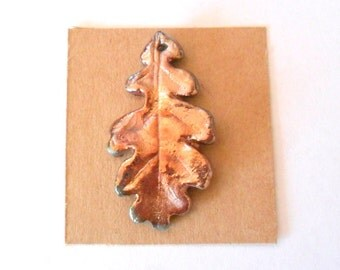 Raku Fired Clay Oak Leaf Pendant Finding