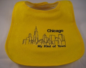 Chicago Baby Bib - Chicago My Kind of Town - Embroidered Chicago Skyline - Perfect Baby Gift