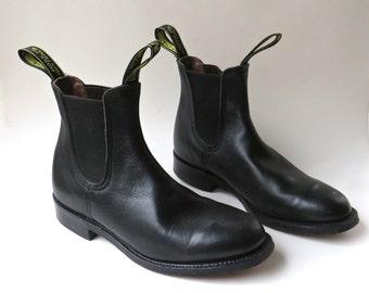 Australian vintage Baxter Black Leather Ankle Boots / Black Leather Ankle Paddock Boots / Made in Australia