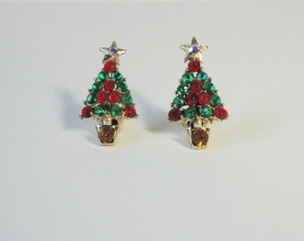 Gold Tone, Green, Red and Clear AB  Rhinestones Christmas Tree Clip on Earrings