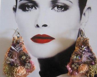 Peach Lace Earrings, Bohemian girl,   Gypsy, Shabby Chic, Tattered, Bohemian  Romantic.