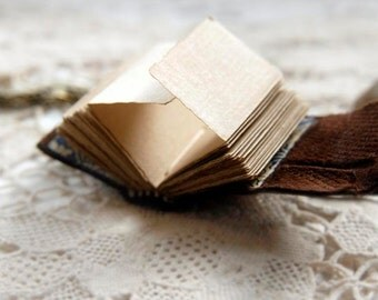 The Little Artist - Mini Wearable Sketchbook, Brown Leather, Tea-Stained Fold Out Pages, OOAK