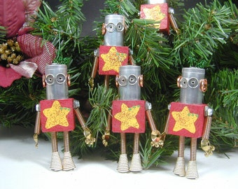 Christmas Ornament  Found Object  Little Robot Sculpture Assemblage Holiday