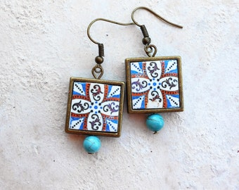Antique Azulejo Tile FRAMED Earrings from ARADA Portugal - Brown Blue (see photo of actual Facade)  Waterproof - reversible 264 FB