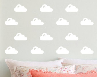 Cloud Wall Decals, vinyl cloud stickers, set of 50, cloud decals, nursery wall decals, new baby gift, small cloud decals, cloud wall decor