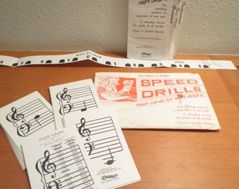 Thomas Music Company Speed Drills Flash Cards Keyboard Vtg 32 flash cards, instructions and Key Finder