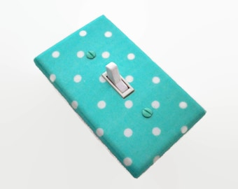 Aqua Light Switch Cover - Teal Switch Plate Cover - Polka Dots Nursery Decor - Turquoise Nursery Switchplate - Aqua Bedroom - Bathroom Decor