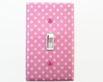 Polka Dot Pink Light Switch Cover - Girls Nursery Decor - Pink White Switchplate - Girls Bedroom Switchplate - Pink Switch Plate - Pink Dots