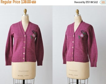 On SALE Vintage 1960s Novelty Cardigan Sweater / Button Down Sweater / Chenille Floral Appliqué / Plum