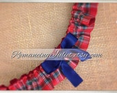 Classic Tartan Skirted Satin Bridal Garter....Custom Colors Available..shown with navy blue accent