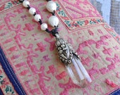 BAROQUE PEARLS with TIBETAN Crystal Pendant Necklace, yoga, boho, tribal