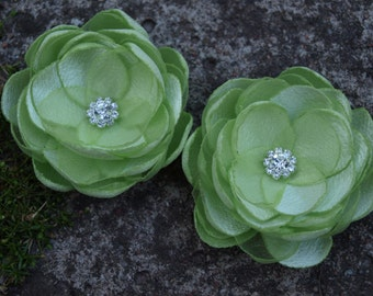 Pale Green Flower Brooches Bobby Pins Shoe Clips Set of 2 Light Green