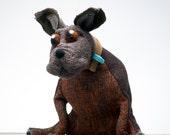 Brown Wool and Tweed Bull Terrier, Handmade Bull Terrier, Gifts